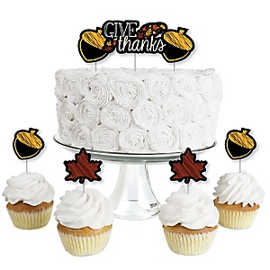 Give Thanks - Dessert Cupcake Toppers - Thanksgiving Party Clear Treat Picks - Set of 24