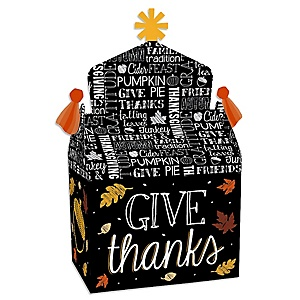 Give Thanks - Treat Box Party Favors - Thanksgiving Party Goodie Gable Boxes - Set of 12