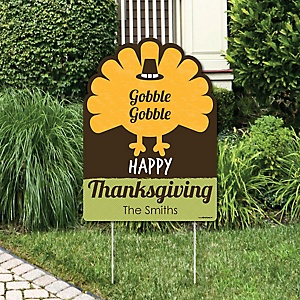 Happy Turkey Day - Thanksgiving Decorations - Personalized Thanksgiving Yard Sign