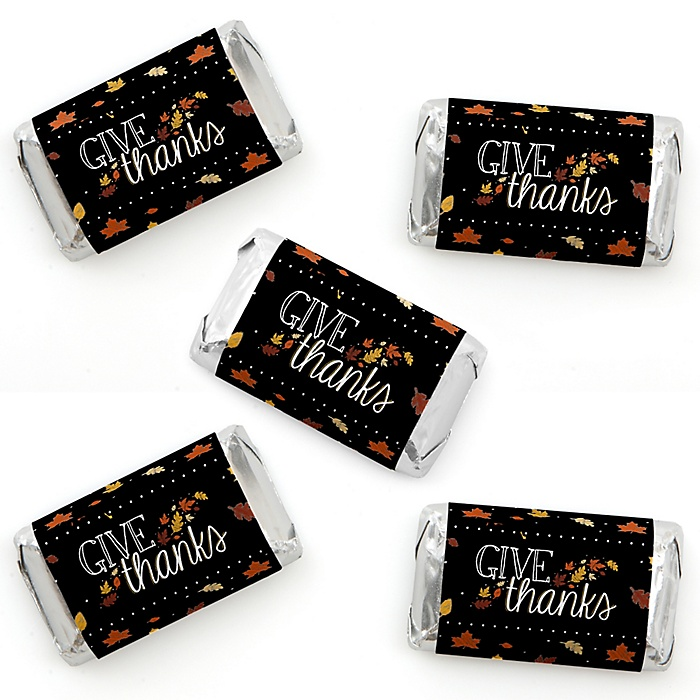 Give Thanks - Mini Candy Bar Wrapper Stickers - Thanksgiving Party Small Favors - 40 Count