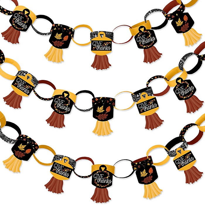 Give Thanks - 90 Chain Links and 30 Paper Tassels Decoration Kit - Thanksgiving Party Paper Chains Garland - 21 feet