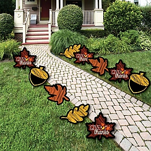 Give Thanks - Leaf Lawn Decorations - Outdoor Thanksgiving Party Yard Decorations - 10 Piece