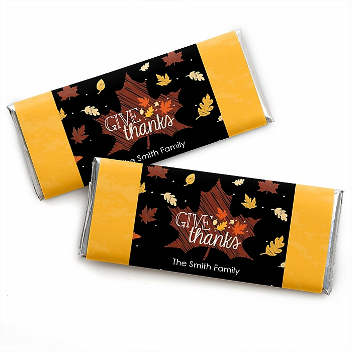 Give Thanks - Personalized Candy Bar Wrapper Thanksgiving Party Favors - Set of 24