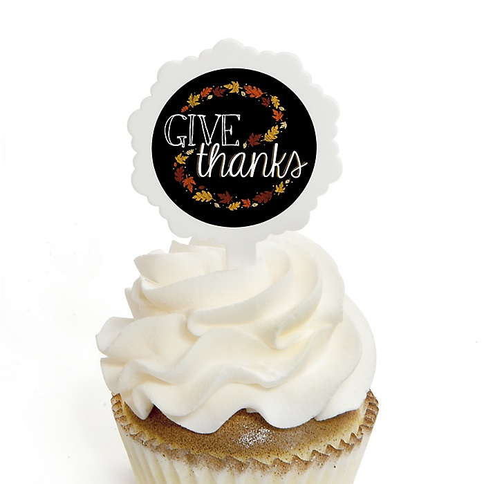 Give Thanks - Thanksgiving Party Cupcake Pick and Sticker Kit - 12 ct