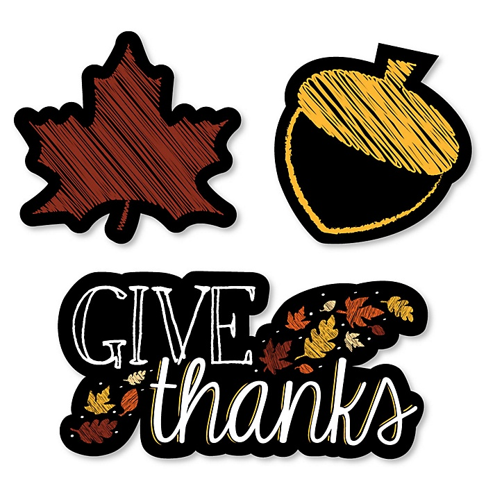Give Thanks - DIY Shaped Thanksgiving Party Paper Cut-Outs - 24 ct