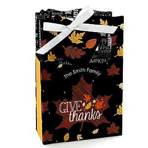 Give Thanks - Personalized Thanksgiving Party Favor Boxes - Set of 12