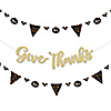 Give Thanks - Thanksgiving Party Letter Banner Decoration - 36 Banner Cutouts and No-Mess Real Gold Glitter Give Thanks Banner Letters