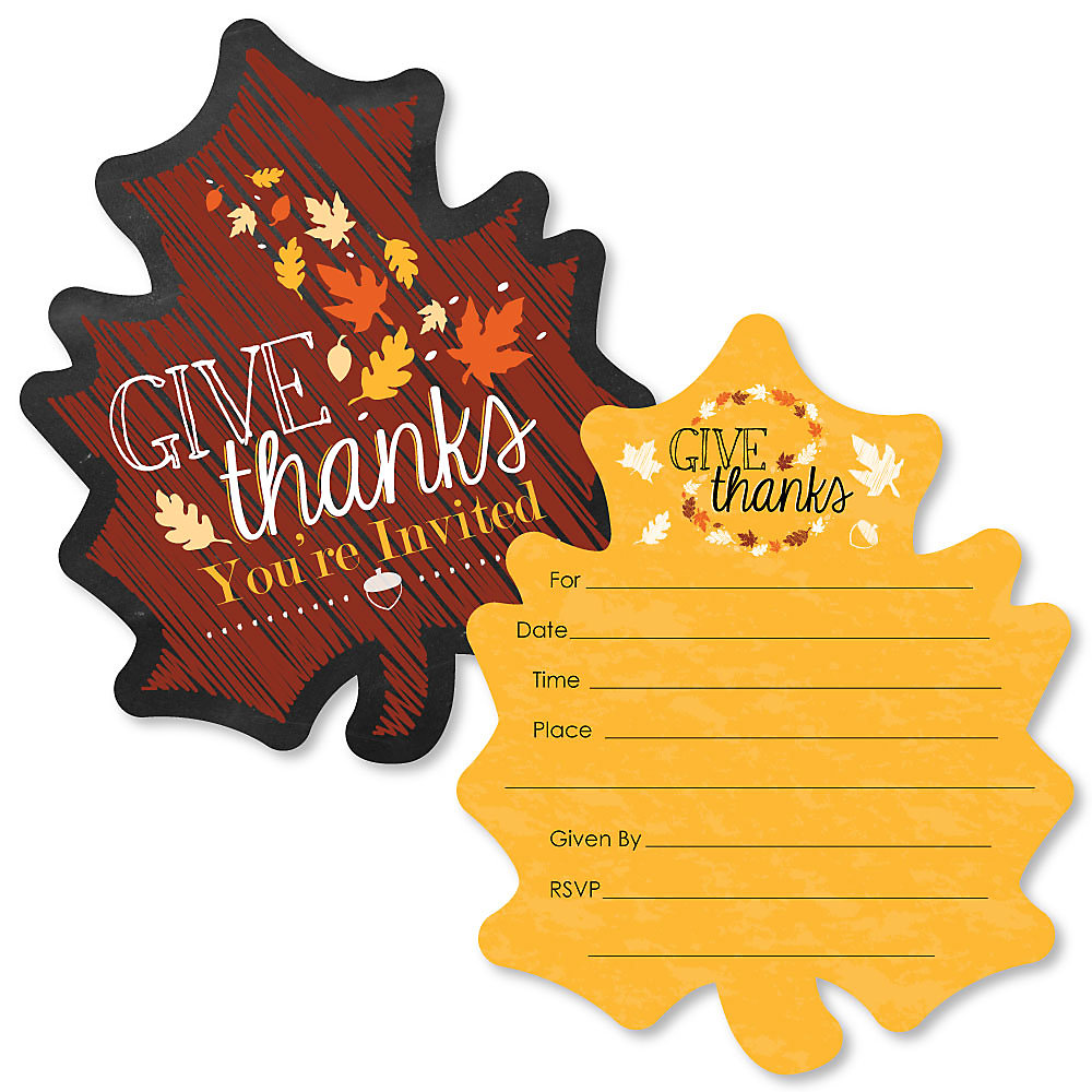 Give Thanks Shaped Fill In Invitations Thanksgiving Party Invitation Cards With Envelopes Set Of 12