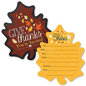 Give Thanks - Shaped Fill-In Invitations - Thanksgiving Party Invitation Cards with Envelopes - Set of 12