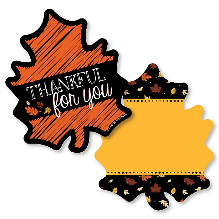 Give Thanks - Shaped Thank You Cards - Thanksgiving Party Thank You Note Cards with Envelopes - Set of 12