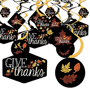 Give Thanks - Thanksgiving Party Hanging Decor - Party Decoration Swirls - Set of 40