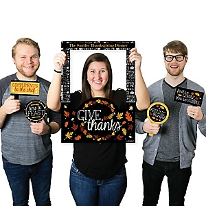 Give Thanks - Personalized Thanksgiving Party Photo Booth Picture Frame & Props - Printed on Sturdy Material