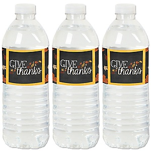 Give Thanks - Thanksgiving Party Water Bottle Sticker Labels - Set of 20