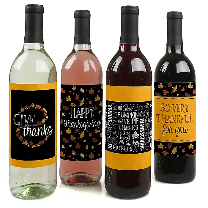 Give Thanks - Thanksgiving Decorations for Women and Men - Wine Bottle Label Stickers - Set of 4