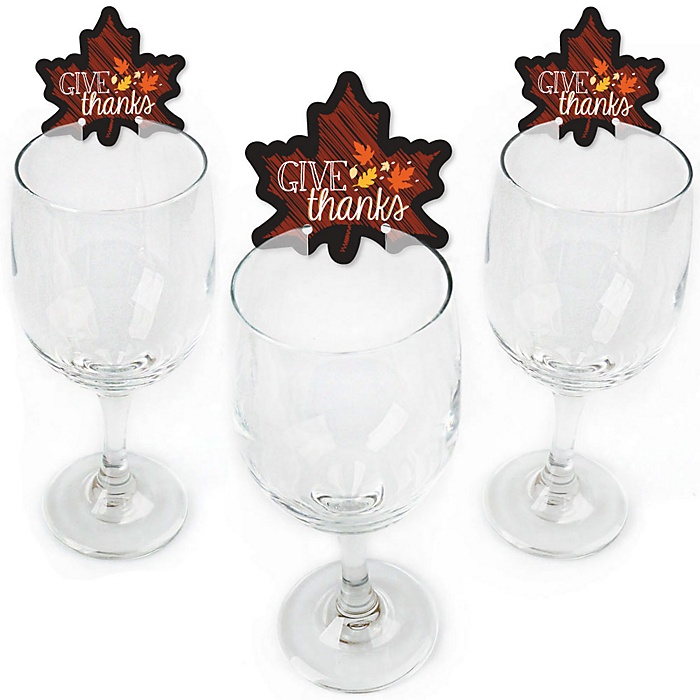 Give Thanks - Shaped Thanksgiving Wine Glass Markers - Set of 24