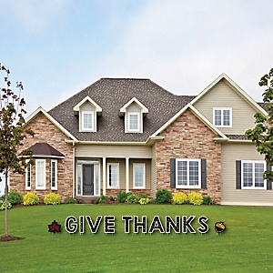 Give Thanks - Yard Sign Outdoor Lawn Decorations - Thanksgiving Party Yard Signs - Give Thanks