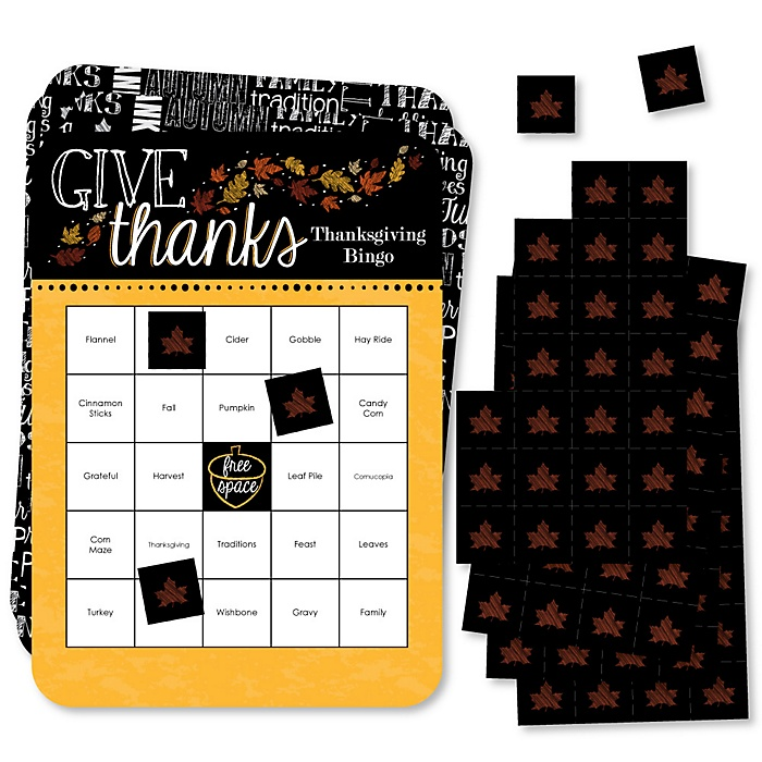 Give Thanks - Bingo Cards and Markers - Thanksgiving Party Bingo Game - Set of 18