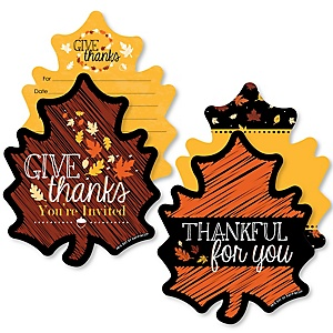 Give Thanks - 20 Shaped Fill-In Invitations and 20 Shaped Thank You Cards Kit - Thanksgiving Party Stationery Kit - 40 Pack