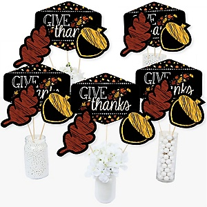 Give Thanks - Thanksgiving Party Centerpiece Sticks - Table Toppers - Set of 15