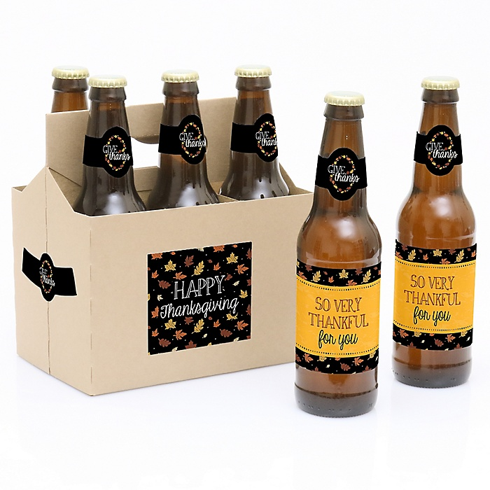 Give Thanks - Decorations for Women and Men - 6 Beer Bottle Label Stickers and 1 Carrier - Thanksgiving Gift
