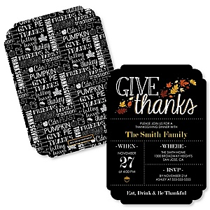 Give Thanks - Shaped Thanksgiving Party Invitations - Set of 12