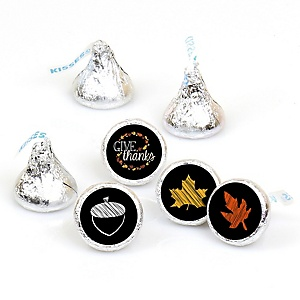 Give Thanks - 108 Round Candy Labels Thanksgiving Party Favors - Fits Hershey Kisses