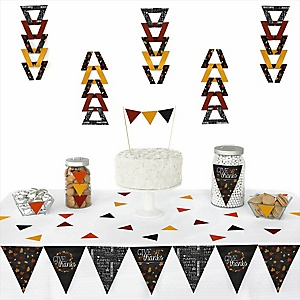 Give Thanks -  Triangle Thanksgiving Party Decoration Kit - 72 Piece