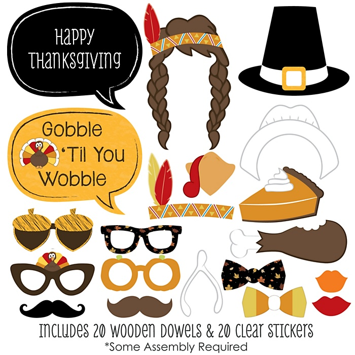Give Thanks - Thanksgiving 20 Piece Photo Booth Props Kit
