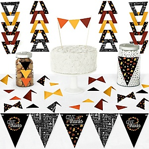 Give Thanks - DIY Pennant Banner Decorations - Thanksgiving Party Triangle Kit - 99 Pieces