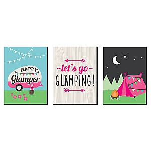 "Let's Go Glamping - Nursery Wall Art, Kids Room Décor and Camping Home Decorations - 7.5"" x 10"" - Set of 3 Prints"