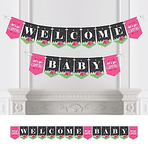 Let's Go Glamping - Camp Glamp Baby Shower Party Bunting Banner - Party Decorations - Welcome Baby