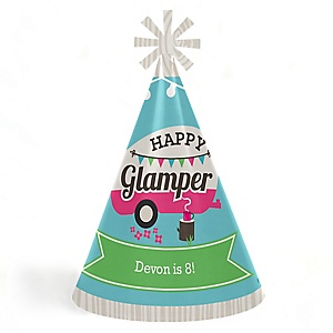 Let's Go Glamping - Personalized Cone Camp Glamp Happy Birthday Party Hats for Kids and Adults - Set of 8 (Standard Size)