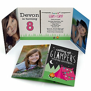 Let's Go Glamping - Personalized Camp Glamp Birthday Party Photo Invitations - Set of 12