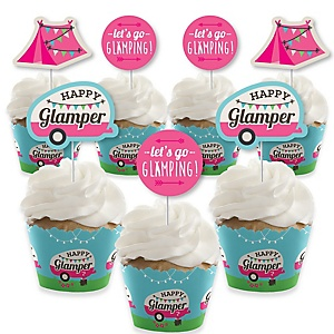 Let's Go Glamping - Cupcake Decoration - Camp Glamp Party or Birthday Party Cupcake Wrappers and Treat Picks Kit - Set of 24