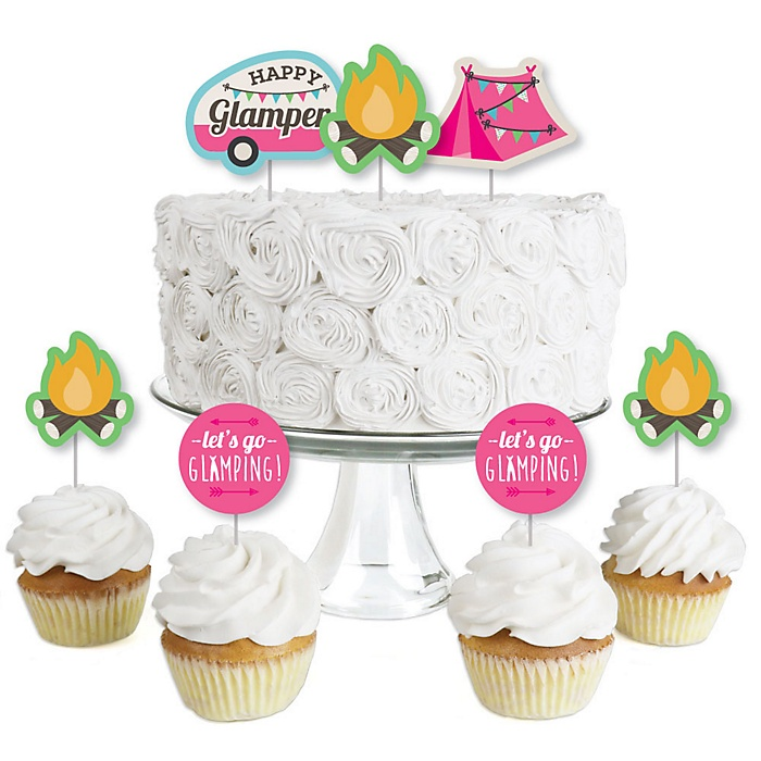 Let's Go Glamping - Dessert Cupcake Toppers - Camp Glamp Party or Birthday Party Clear Treat Picks - Set of 24