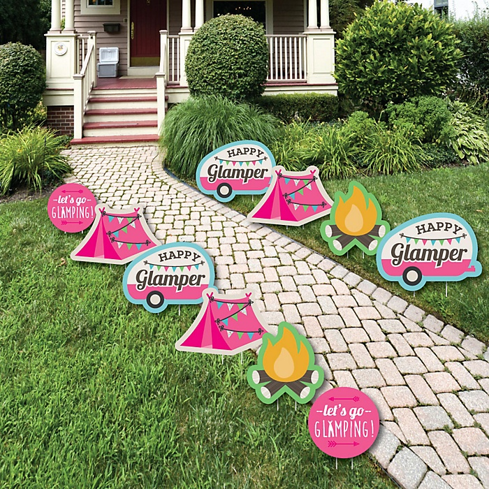 Let's Go Glamping - Lawn Decorations - Outdoor Camp Glamp Party or Birthday Party Yard Decorations - 10 Piece