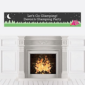 Let's Go Glamping - Personalized Camp Glamp Party or Birthday Party Banner