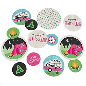 Let's Go Glamping - Camp Glamp Party or Birthday Party Giant Circle Confetti - Party Decorations - Large Confetti 27 Count