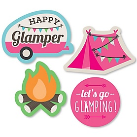 Let's Go Glamping - DIY Shaped Camp Glamp Party or Birthday Party Cut-Outs - 24 ct