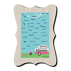 Let's Go Glamping - Unique Alternative Guest Book - Camp Glamp Party or Birthday Party Signature Mat