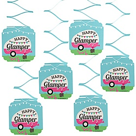 Let's Go Glamping - Camp Glamp Party or Birthday Party Hanging Decorations - 6 ct