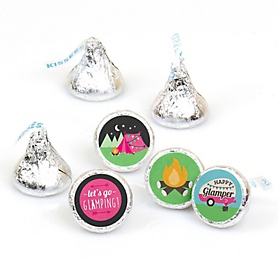 Let's Go Glamping - Camp Glamp Party or Birthday Party Round Candy Sticker Favors - Labels Fit Hershey's Kisses  - 108 ct