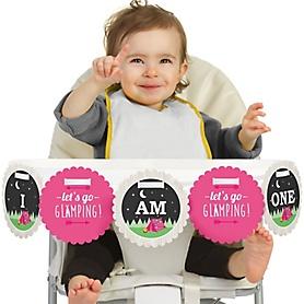 Let's Go Glamping 1st Birthday - I am One - Camp Glamp Party or Birthday Party First Birthday High Chair Birthday Banner