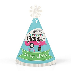 Let's Go Glamping - Personalized Mini Cone Camp Glamp Party or Birthday Party Hats - Small Little Party Hats - Set of 10