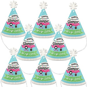 Let's Go Glamping - Mini Cone Camp Glamp Party or Birthday Party Hats - Small Little Party Hats - Set of 8