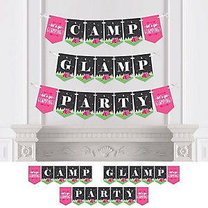 Let's Go Glamping - Personalized Camp Glamp Party Bunting Banner & Decorations