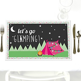 Let's Go Glamping - Party Table Decorations - Camp Glamp Party or Birthday Party Placemats - Set of 12