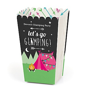 Let's Go Glamping - Personalized Camp Glamp Party or Birthday Party Popcorn Favor Treat Boxes - Set of 12