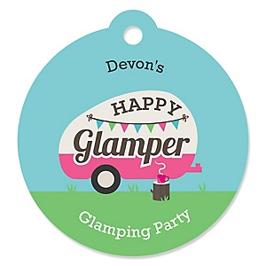 Let's Go Glamping - Personalized Camp Glamp Party or Birthday Party Favor Gift Tags - 20 ct