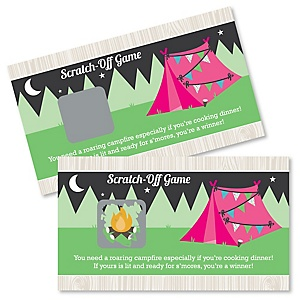 Let's Go Glamping - Camp Glamp Party or Birthday Party Scratch Off Cards - 22 Cards